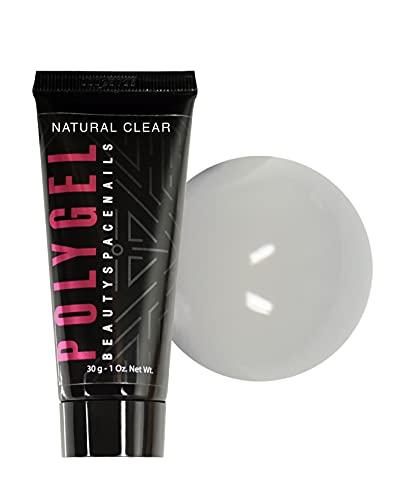 Poligel Natural Clear 30 g – Acrygel en tubo, densidad compacta incluso en 5 dedos juntos, no gotea, no quema – Exprimir, cortar y rolla – Extensión completa y doble forma – Beauty Space Nails