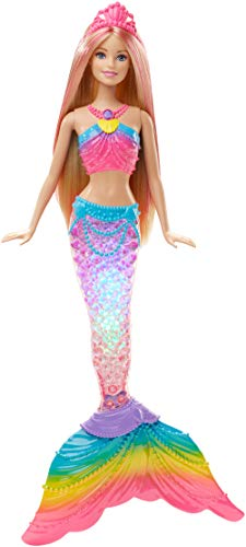 Barbie Dreamtopia, muñeca Sirena Luces de Arcoíris, regalo para niñas y niños 3-9 años (Mattel DHC40)