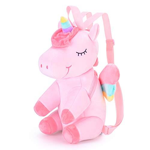 Gloveleya Unicornio Mochila para niños Mochilas de Unicornio Regalo de bebé Equipaje de bebé Uso de Viaje de Regreso a la Escuela - 3D Unicornio Rosa