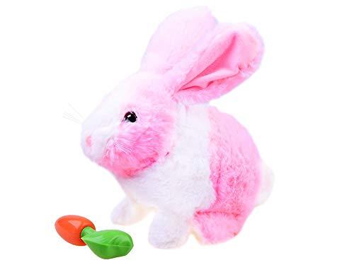 Juguete de Peluche - Animal de Peluche Interactivo - Animal Brinco y Masca Zanahoria - Conejo Rosa