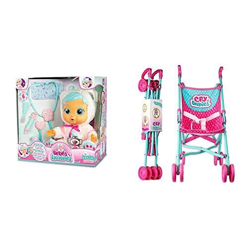 IMC Toys Muñeca Kristal de Bebés Llorones + 99999 - Bebés Llorones, Sillita de Paseo , Colores/Modelos Surtidos, 1 Unidad