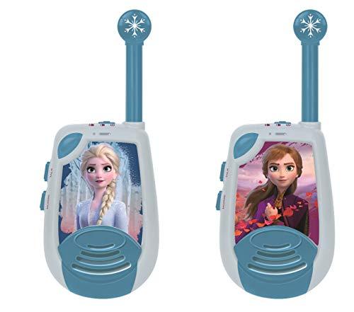 Frozen Disney 2 Elsa-Walkie-Talkies digitales, Rango transmisión hasta 2 kms, Morse luminoso, Pinza para colgar del cinturón, batería, Azul, color (China TW25FZ)