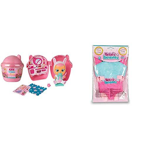 IMC Toys Bibe Casita de Bebés Llorones Mini Lágrimas Mágicas, Multicolor, Surtido (98442) + Bebés Llorones, Portabebés (90019)