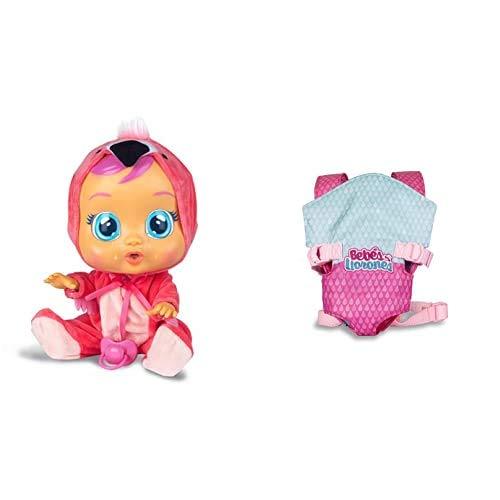IMC Toys Bebés Llorones, Fancy (97056) + Bebés Llorones, Portabebés (90019)