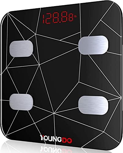 YOUNGDO Báscula Grasa Corporal, 30 * 30cm Tamaño Grande, 19 Datos Corporales (IMC/Grasa/Peso Óseo, etc.), Báscula Personal Impedanciómetro Carga USB, 999 usuarios