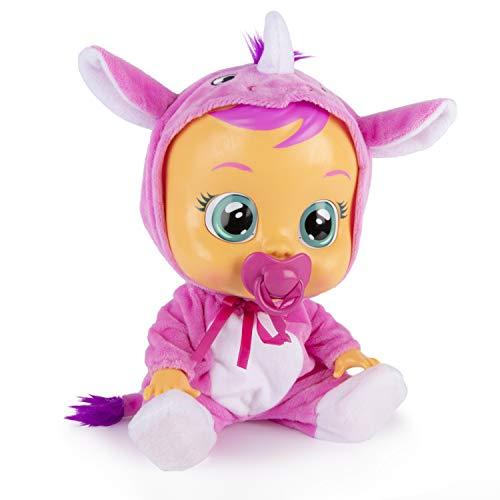 Bebés Llorones Sasha - Muñeca interactiva que llora de verdad con chupete y pijama de Rinoceronte