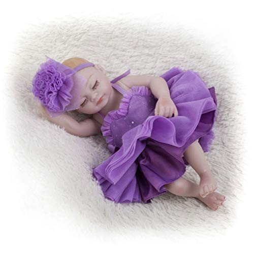 GuDoQi Mini Bebe Reborn Silicona Cuerpo Completo, 22cm Niña Bebé Durmiendo, Realista Renacida con Vestido Morado, Regalo para Niños