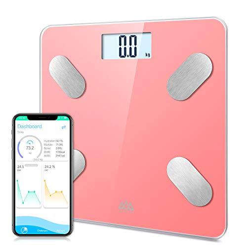 SENSSUN Bascula de Baño Digital Grasa Corporal,balanzas digitales bluetooth,Analiza la composición corporal,con 13 Funciones,IMC/músculo/grasa corporal/masa ósea(Rosa)
