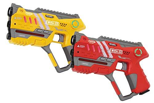 Jamara 410085Impulse Gun–Pistol Juego Laser Día con 3Battle (4Jugadores por Team, Last Man Standing, Duelo), 4simulierte Armas con Efectos de Sonido, hasta 40m de Alcance, Amarillo/Rojo