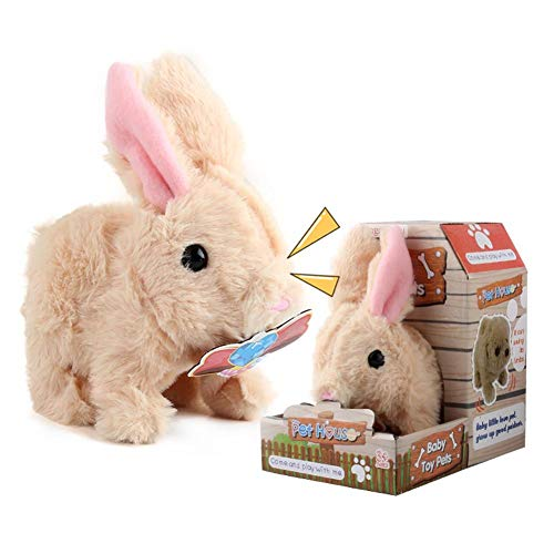 Janny-shop Juguete Interactivo de Felpa Conejo Saltando con Batería para Niños y Niñas