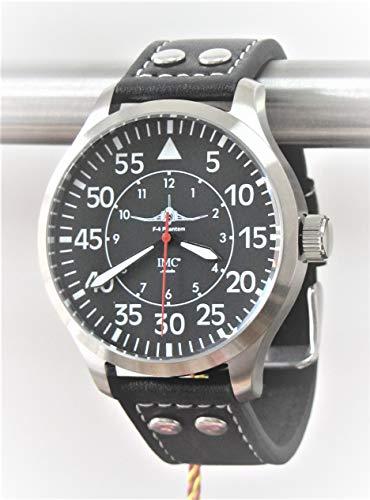 IMC Reloj de aviador Phantom Hombres Reloj de pulsera de pulsera de cuero con caja de acero inoxidable