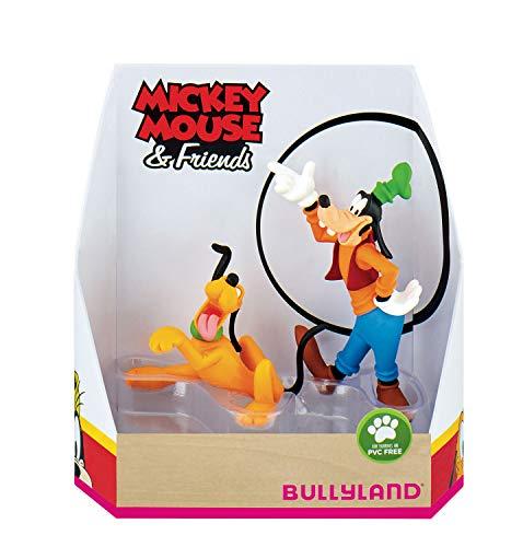 Bullyland 15085 – Juego de Figuras de Juguete, Walt Disney Mickey Mouse Set de Regalo de Pluto y Goofy, Figuras pintadas a Mano, sin PVC, Regalo Ideal para niños y niñas para Jugar de fantasía