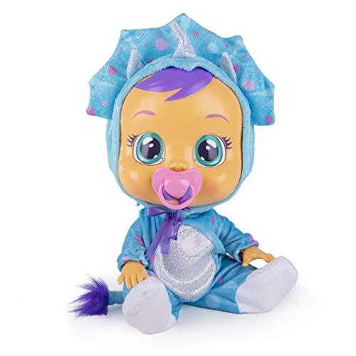 BEBÉS LLORONES Fantasy Tina, el dinosaurio Muñeca Interactiva que llora con chupete y pijama de dinosaurio azul, muñeco para niñas y niños +18 meses