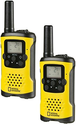 National Geographic PMR-Walkie Talkie - Radio con Alcance de hasta 6 km, Pantalla LCD, Linterna, función VOX, 8 Canales, 10 Tonos de Timbre, conexión para Auriculares, Libre de Licencia