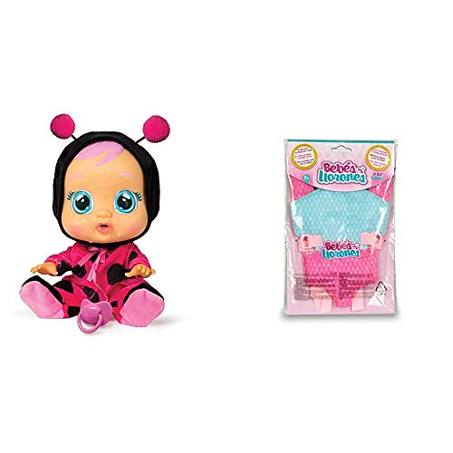 IMC Toys - Bebés Llorones, Lady (96295) + Bebés Llorones, Portabebés (90019)