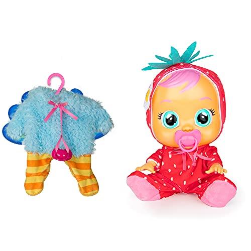 Bebés Llorones Tutti Frutti Ella + 1 pijama - Pack de 1 muñeca interactiva que llora y con olor fresa y 1 pijama adicional de Pavo Real