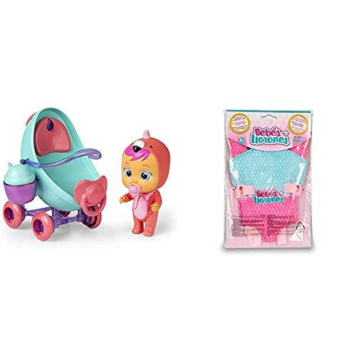 IMC Toys Cochecito Fancy de Bebés Llorones Mini Lágrimas Mágicas + Bebés Llorones, Portabebés (90019)