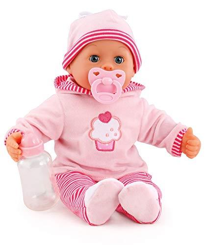 Bayer Design- Muñeca bebé 38 cm, Las Primeras Palabras, con chupete y botellín, Color rosa (93816AA) , color/modelo surtido