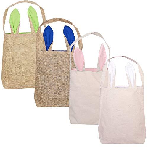 LSJDEER Paquete de 4 bolsas de conejito de Pascua, canastas de Pascua con orejas de conejo, para la caza de huevos de Pascua, dulces y cubos de transporte en la fiesta de Pascua Grande 4 piezas-2