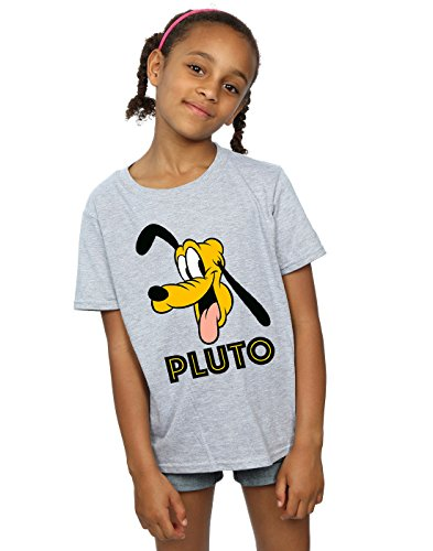 Disney niñas Pluto Face Camiseta 7-8 Years Gris Sport