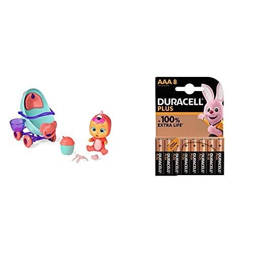 Imc Toys - Bebés Llorones Lágrimas Mágicas, Coche de Fancy (97957) + Duracell - Nuevo Pilas alcalinas Plus AAA , 1.5 Voltios LR03 MN2400, Paquete de 8