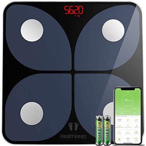 Báscula de Baño Digital Báscula Inteligente Báscula Grasa Corporal Bluetooth, Wireless Báscula Analizar Más de 13 Funciones, Monitores de Composición Corporal Máximo 180 kg para Andriod e iOS (Negro)