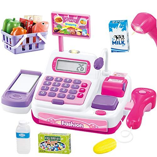 BUYGER Caja Registradora Juguetes Micrófono Electrónica Escáner Calculadora Maquina Tienda Supermercado Comida Juguetes Regalo para Niña Niño 3 4 5 Años