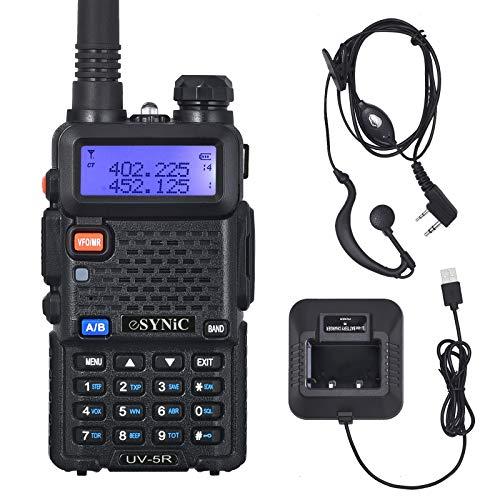 eSynic UV-5R Walkie Talkie 128 Canales VOX 400MHz-480MHz VHF/UHF Banda Dual con Pantalla LED de Memoria con Explosión Parpadeo de Alarma Soporta VOX para Sitio de Construcción Hotel Adventure