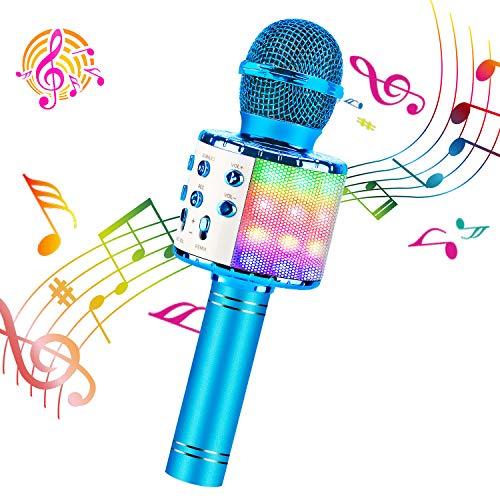 ShinePick Microfono Inalámbrico Karaoke, Micrófono Karaoke Bluetooth Portátil con Altavoz y LED para Niños Canta Partido Musica, Compatible con Android/iOS PC, AUX o Teléfono Inteligente (Azul)