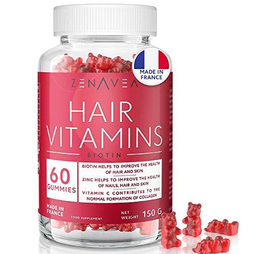 Gominola para Pelo, Piel y Uñas - 60 Gominolas - Tratamiento 1 mes - Sabor Arándano - Vegano - Made in France - Vitamina B12, Vitamina C, Vitamina E & Biotina cabello - cuidado del Pelo, Crece pelo