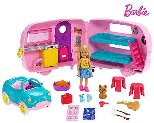 Barbie - Chelsea Muñeca y Su Caravana, con Perrito y Accesorios (Mattel FXG90)