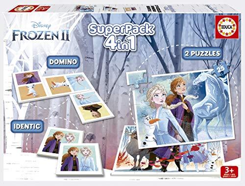 Educa - Superpack Frozen 2 Pack de Domino, Identic y 2 Puzzles, Juego de Mesa, Multicolor (18378)