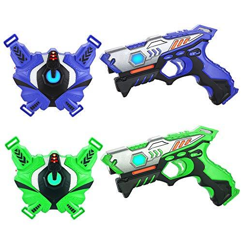 TINOTEEN Pistolas de Juguetes y Chaleco, Armas de Juego de 2 Jugadores para 6 7 8 9 10+ Niños(Azul & Verde)