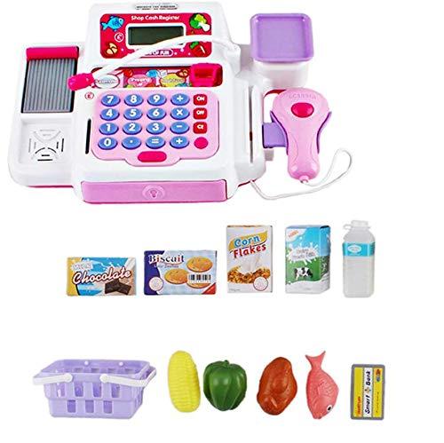 deAO Caja Registradora Electrónica de Juguete con Escáner, Micrófono, Cinta y Lector de Tarjetas Conjunto de Accesorios de Tienda y Supermercado Infantil Incluye Alimentos de Juguete (Rosa)
