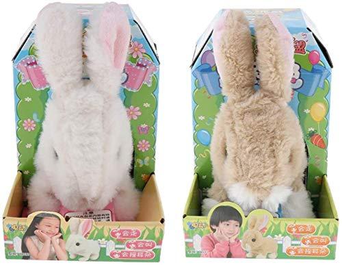 Woodtree 2pcs Felpa Conejo de Juguete electrónico Interactivo Saltar, movía Las Orejas, la Nariz en Movimiento Juguete del Conejito Beige Regalos for los niños y Animales domésticos